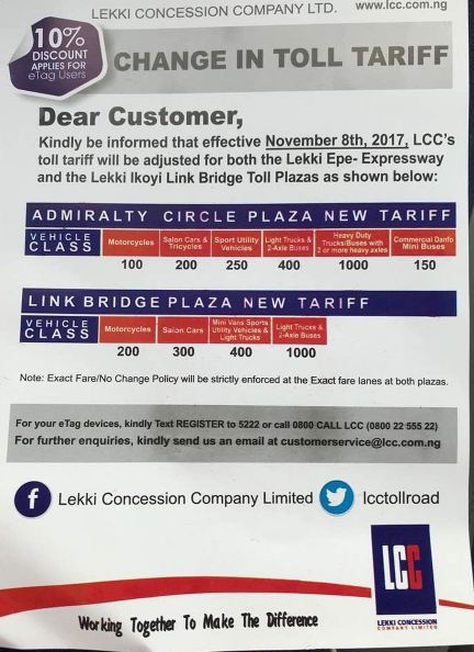 Lekki Concession Increases Toll Gate Fare