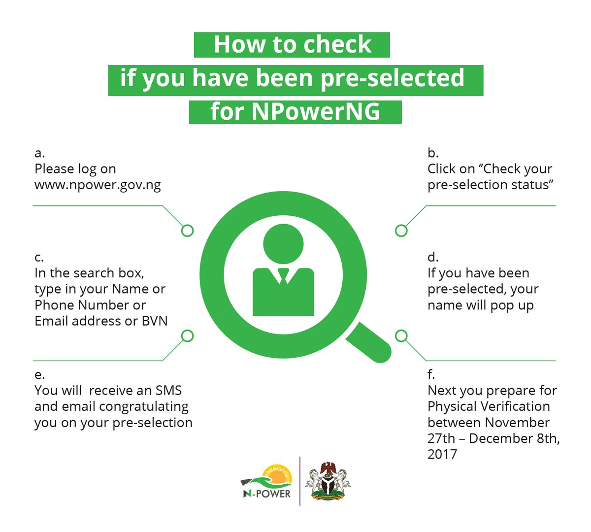 N-Power explains how to check pre-selection status