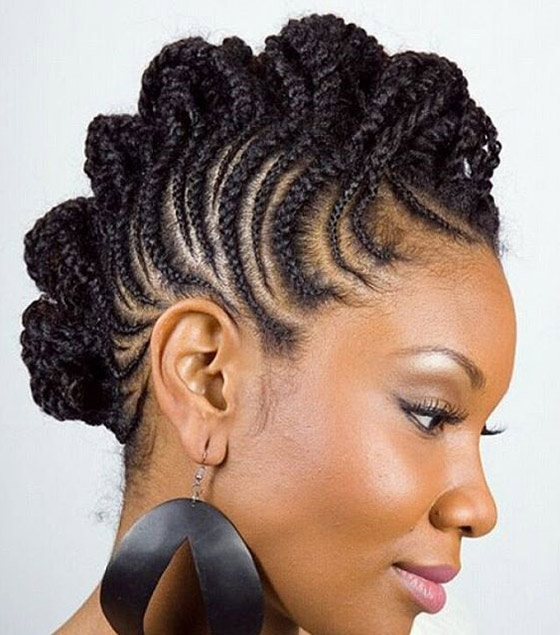Mixed Cornrows Mohawk